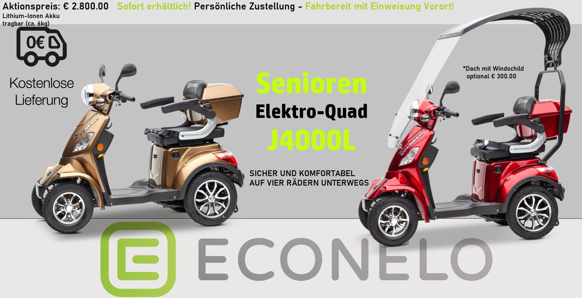 Econelo Seniorenmobile Vierrad mit Lithium-Ionen Akku