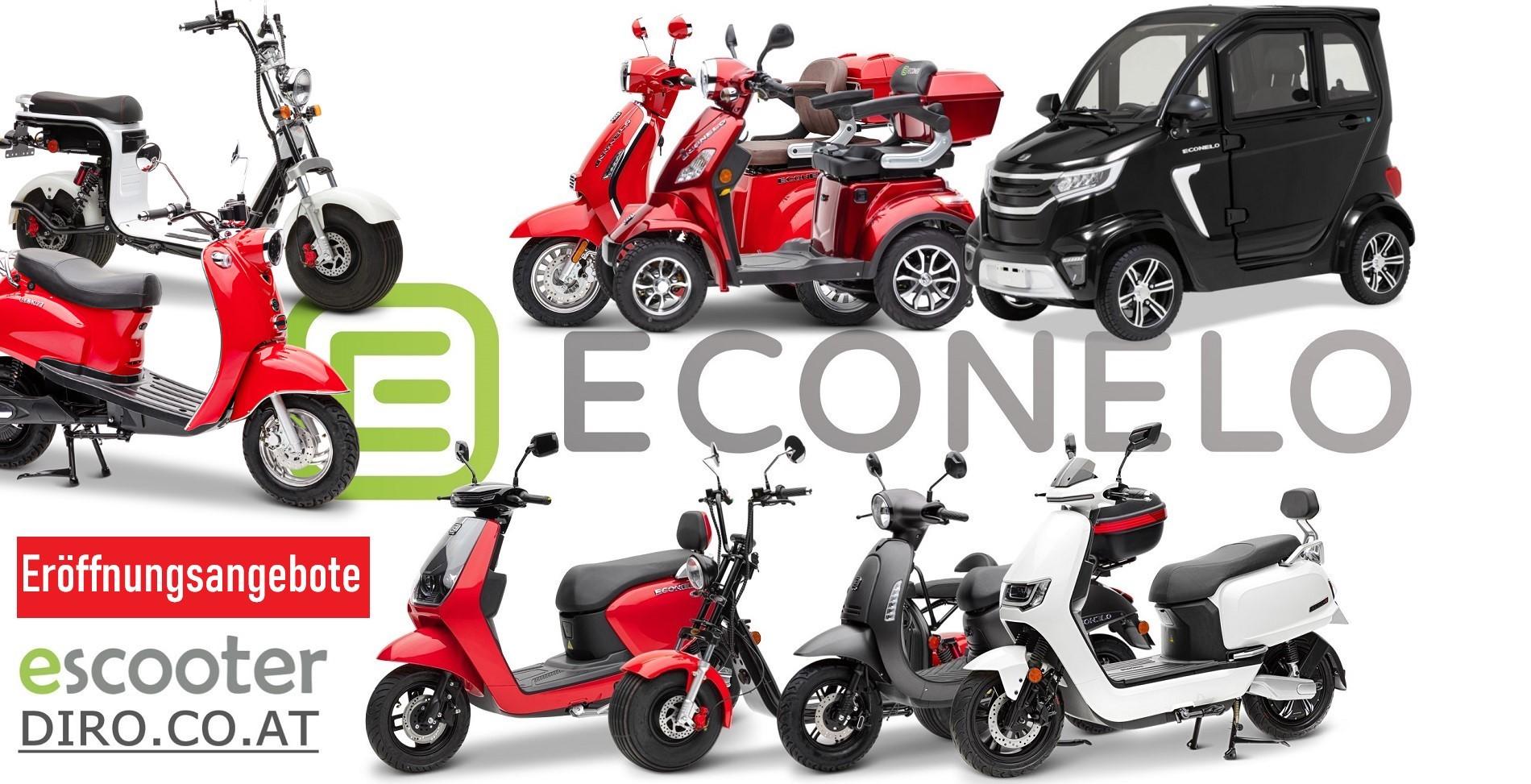 Elektro Roller Econelo, Zweirad, Dreirad, Vierrad, Kabinenroller